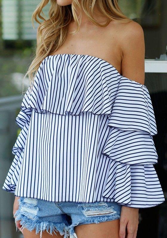 Blue Striped Pattern Boat Neck Streetwear Cotton T-Shirt