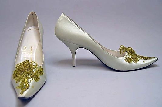 Evening shoes House of Dior (French, founded 1947) Designer: Roger Vivier (French, 1913–1998) Date: 1960 Culture: French Medium: silk, leath...