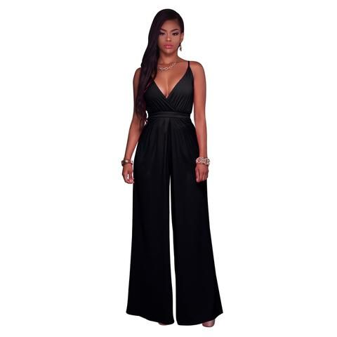 2ba970905fa Women Spaghetti Strap Sexy Jumpsuits 2019 New Summer Sleeveless Deep V-Neck  Solid Color Slim Wide Leg Jumpsuit Backless Jumpsuit