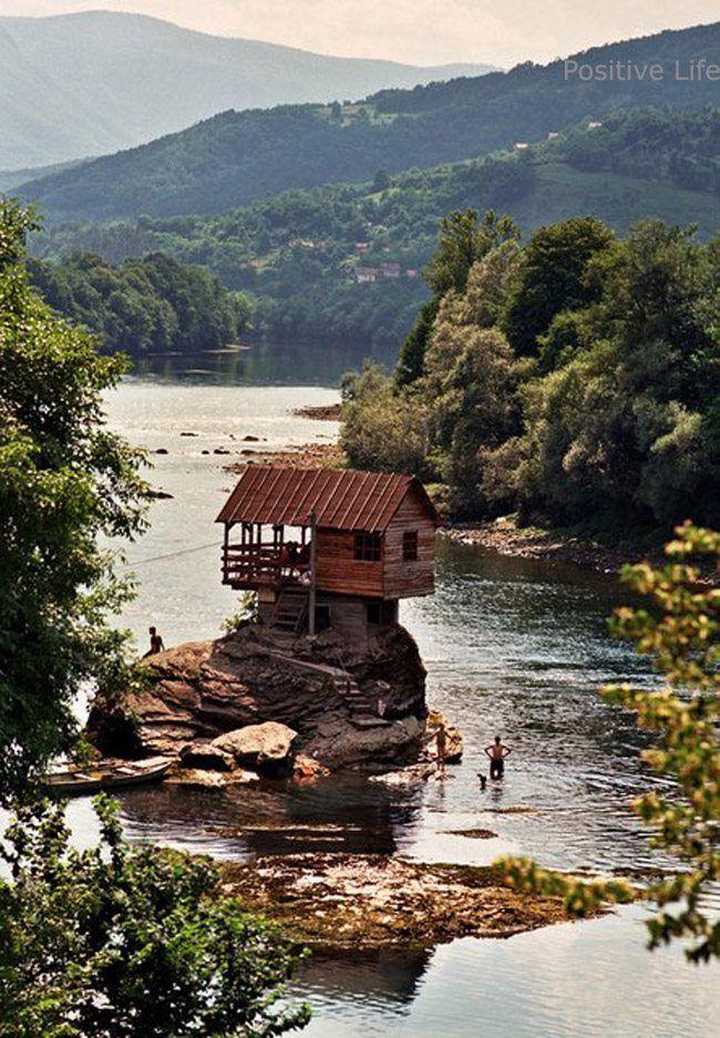 Unusual architecture in the middle of river Drina, Bajina Basta, Tara national park