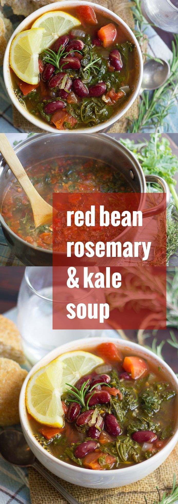 This healthy and hearty red bean kale soup is packed with juicy tomatoes, savory rosemary, and (optionally) seasoned up with a touch of hot sauce.