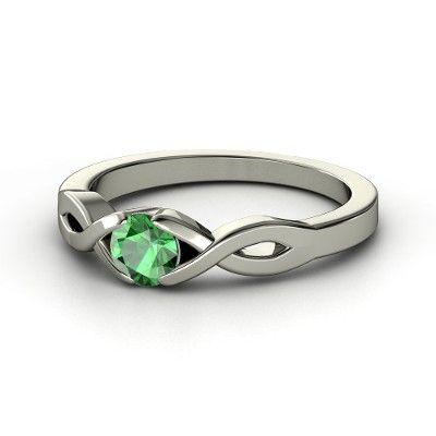 Round Emerald Platinum Ring - Two Paths Solitaire Ring | Gemvara