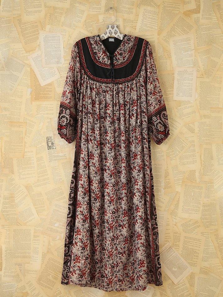 Free People Vintage Metallic Floral Printed Dress