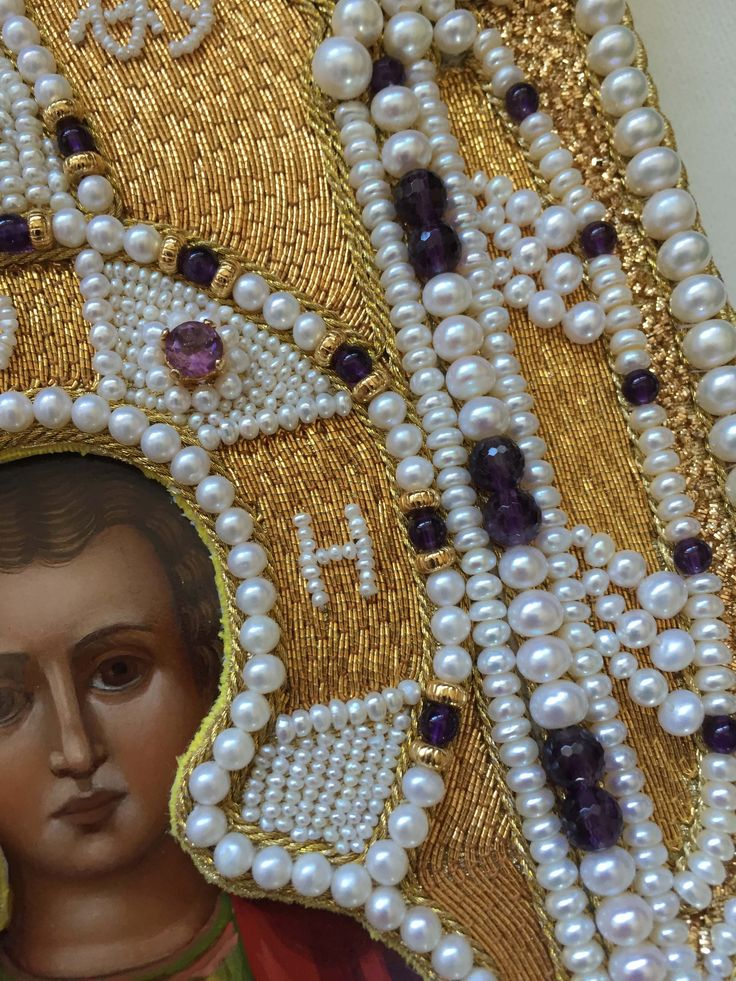 Detail of pearl and goldwork icon frame. My new embroidery (By Larissa B.)