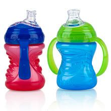 Nuby sippy cup- The only sippy cup my son will hold all by himself. The nipple resembles his bottle so this has been an easy transition into sippy cups.
