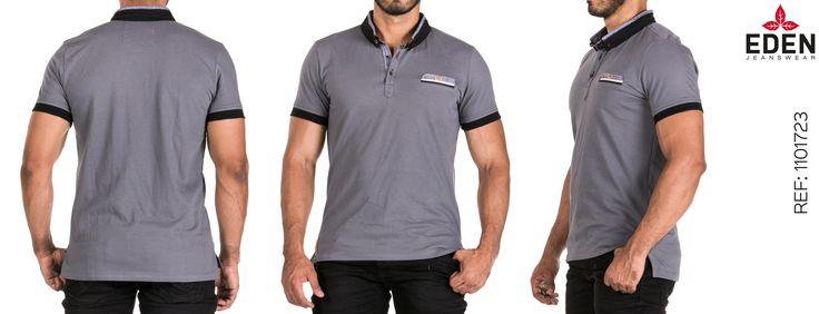 Camiseta gris tipo polo, para hombre