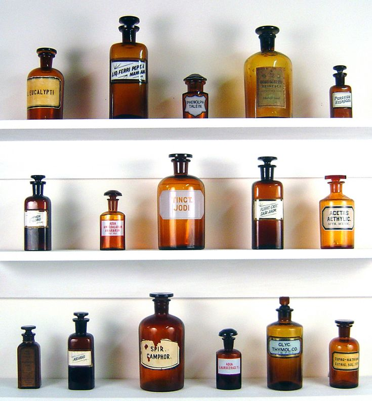 antique medicine bottle collection~I LOVE these Brown Bottles, BUT, They need some Blue or Clear Mixed in.