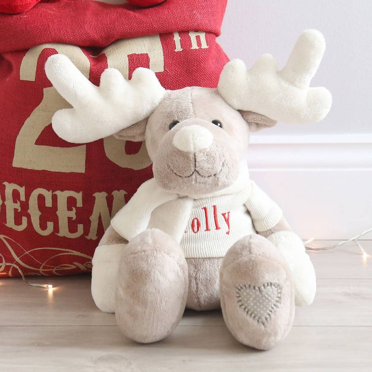 Personalised Brown And Ivory Reindeer Toy