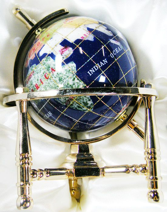 GEMSTONE GLOBE  CARRIBEAN BLUE 8  CM/HT 5.5INCHES  TW1044 gemstone globe , gemstone display