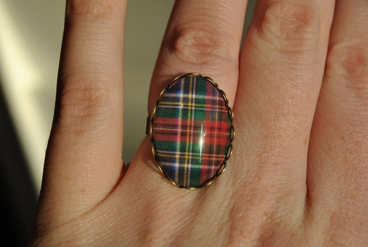 Black Stewart Tartan Oval Ring - Scottish Tartan Plaid Jewelry Christmas Holiday Woman Teen Girl Jewelry Gift Under 20 Wedding Bridesmaid. $15.00, via Etsy.
