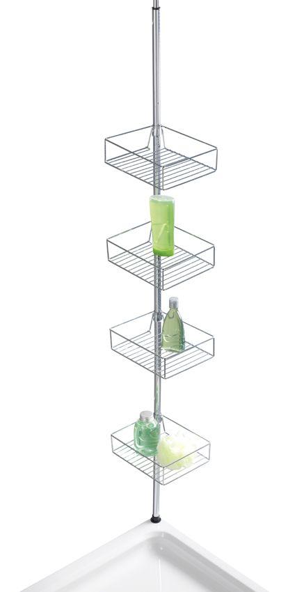 Das Teleskopregal DOMASO ist universell einsetzbar in der Duschkabine, in der Badewannenecke oder im Badezimmer und bietet ideale Ablagemöglichkeiten für Shampoo, Seife und andere Bad-Utensilien. Das Regal aus rostfreien Edelstahl besteht aus 4 eckigen Drahtkörben mit einer Höhe von 7 cm. Gesehen für € 59,99 bei kloundco.de.