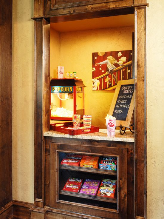 food corner basement ideas    #KBHomes   Love the popcorn machine! def a must have when basement gets done