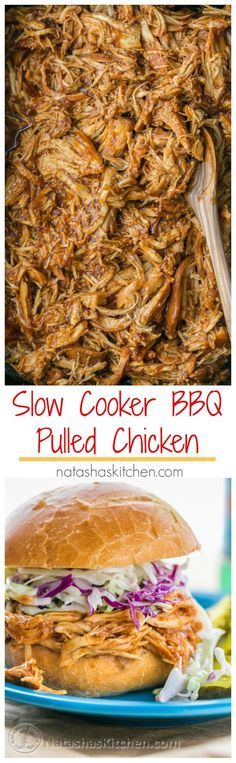 Crockpot BBQ Chicken - The Best Slow Cooker Pulled Chicken! Fall-apart tender, juicy and delicious! | natashaskitchen.com