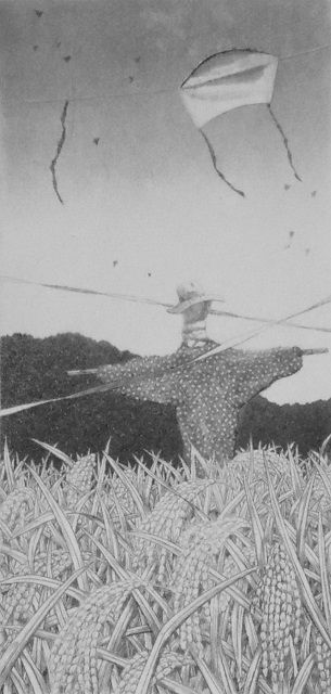 """by  Tanaka Ryohei 1984 Etching and aquatint Edition 87/150  Image Size: 6 1/3"""" x 3"""""""