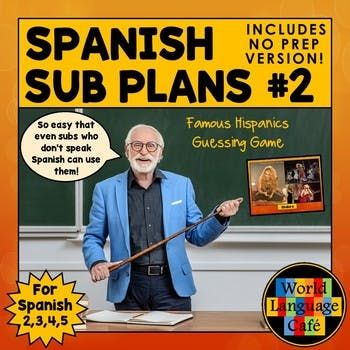 Spanish Sub Plans, Substitute Plans, Spanish 2, 3, 4, 5  Emergency Plans, Set #2 - Students guess 10 famous Hispanics using 20 clues and then write their own sets of clues for famous people.