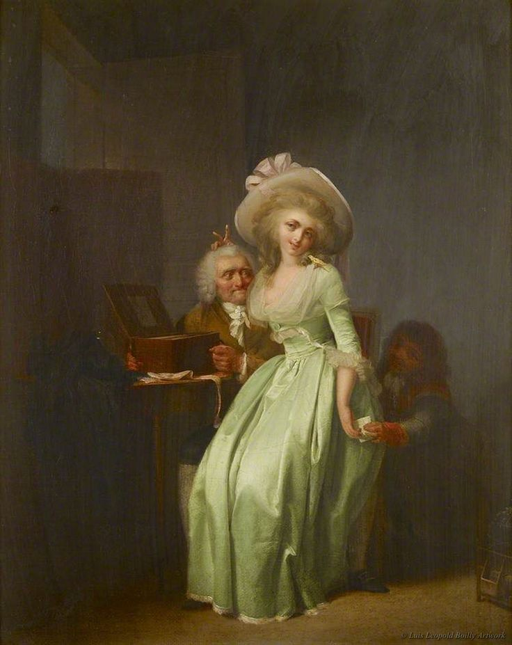 A Young Woman Mocking an Elderly Admirer by Louis Leopold Boilly.