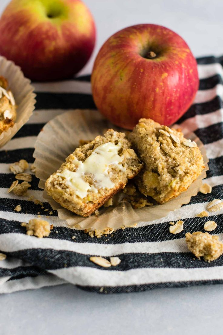 Gluten Free Apple Muffins Recipe with coconut flour and oat flour. Naturally gluten free and so soft and delicious. They taste almost like apple pie! These are a great gluten free breakfast or snack. Delicious topped with a smear of butter!