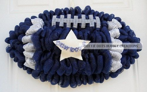 Dallas Cowboys Deco Mesh Football Shaped Wreath New by dottiedot05, $65.00