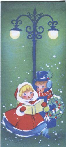Vintage Christmas Card - CHildren Caroling under Lamppost