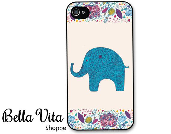 iPhone 4 Case - Elephant with Floral Accent iPhone 4 4s Case, iPhone 4 Protective Case, Cases for iPhone 4, Rubber iPhone Case (4079) on Etsy, $16.95