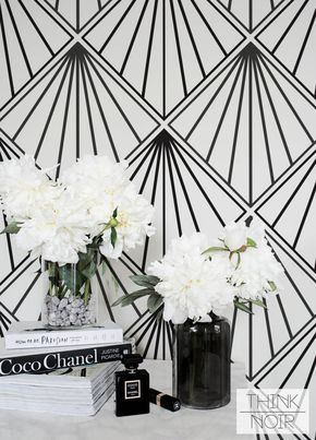 Art Deco Wallpaper, Regular or Self Adhesive Removable Wallpaper, Geometric Wall Mural
