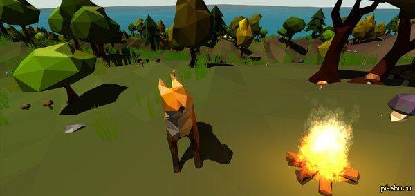Лоу-поли лиса в естественной среде обитания Создание игры в процессе: лисичка уже может погреться у костра.