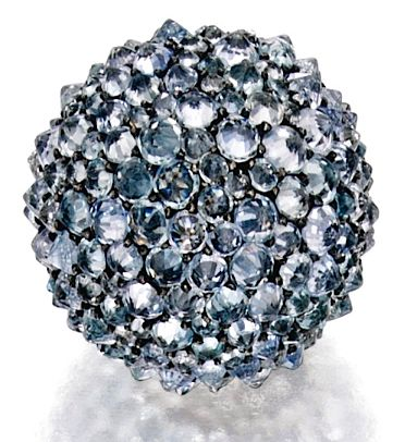 JAR earclips of reverse-set aquamarines and single-cut diamonds at Sotheby's NY Feb. 5, 2015. Great example of JAR's most radical approach to pavé. Click through for my story!