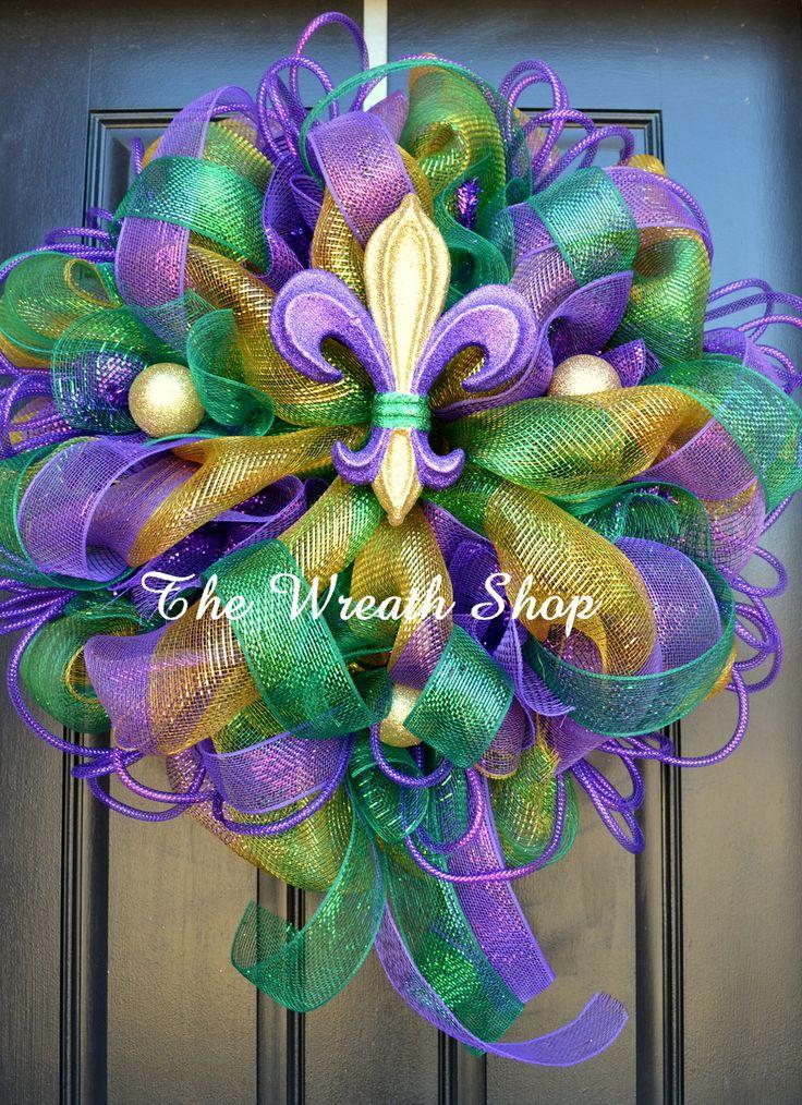 Mardi Gras Fleur de Lis Wreath with Tails by The Wreath Shop at thewreathshop.com Deco Mesh Mardi Gras Wreaths