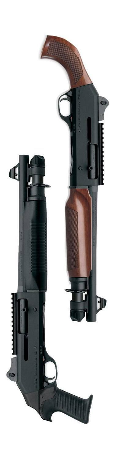 Pair of Benelli M4 shorty shotties. guns, weapons, self defense, protection, protect, knifes, concealed, 2nd amendment, america, 'merica, firearms, caliber, ammo, shells, ammunition, bore, bullets, munitions #guns #weapons: