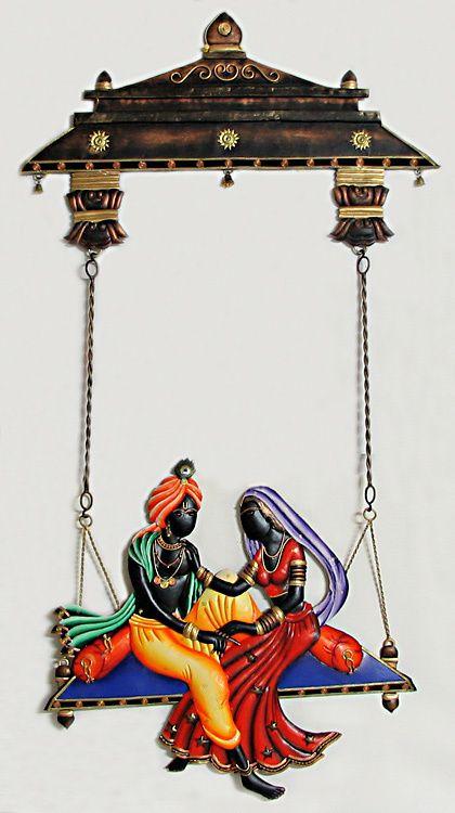 Radha Krishna on a Swing - Wall Hanging (Wrought Iron)
