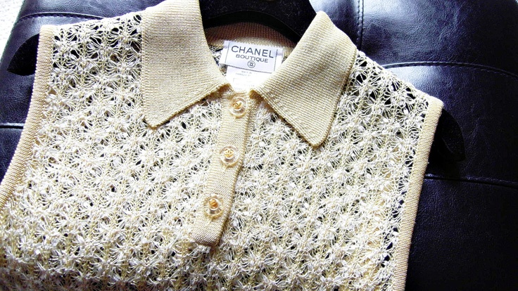Sale+Vintage+CHANEL+Boutique+Knit+Top/Yellow+and+by+Inhabituel