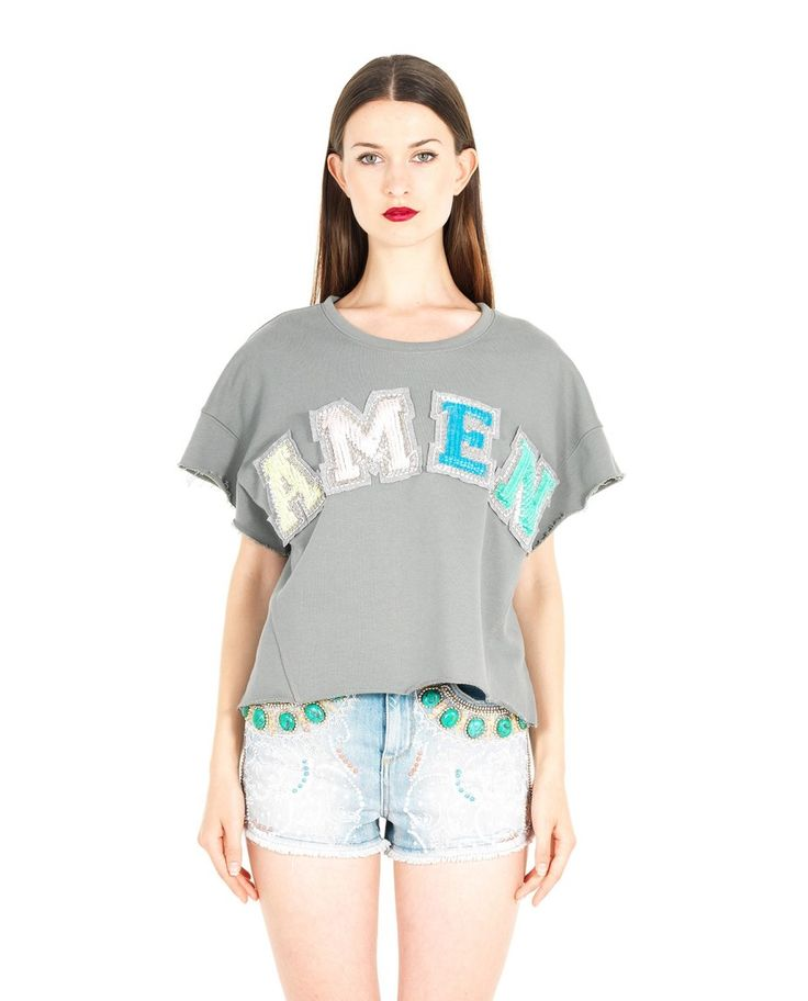 AMEN COTTON SWEATSHIRT WITH PATCH S/S 2016 Green cotton sweatshirt round neckline short sleeves frayed hem front patches  sequin embroidery 100%CO
