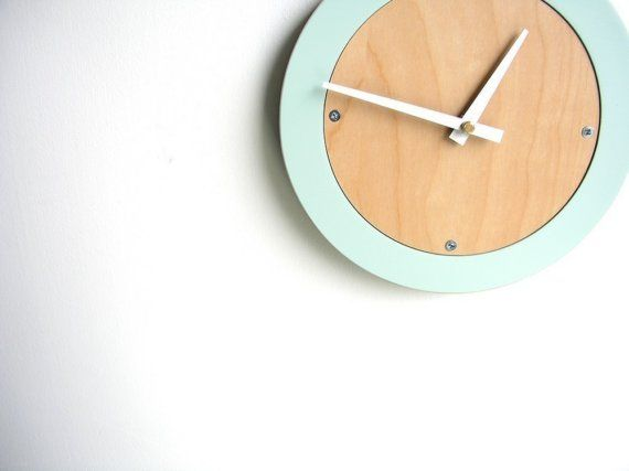 Pale blue modern round clock with natural maple face. Perfect for the modern home!