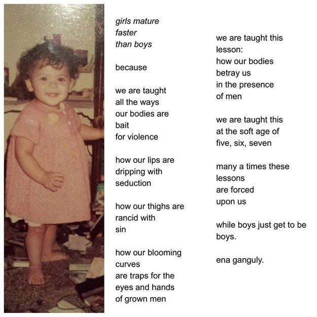 "Bengali-American poet Enakshi ""Ena"" Ganguly posted the following poem with a childhood photo of herself on her Instagram. It's titled ""Boys Will Be Boys""."
