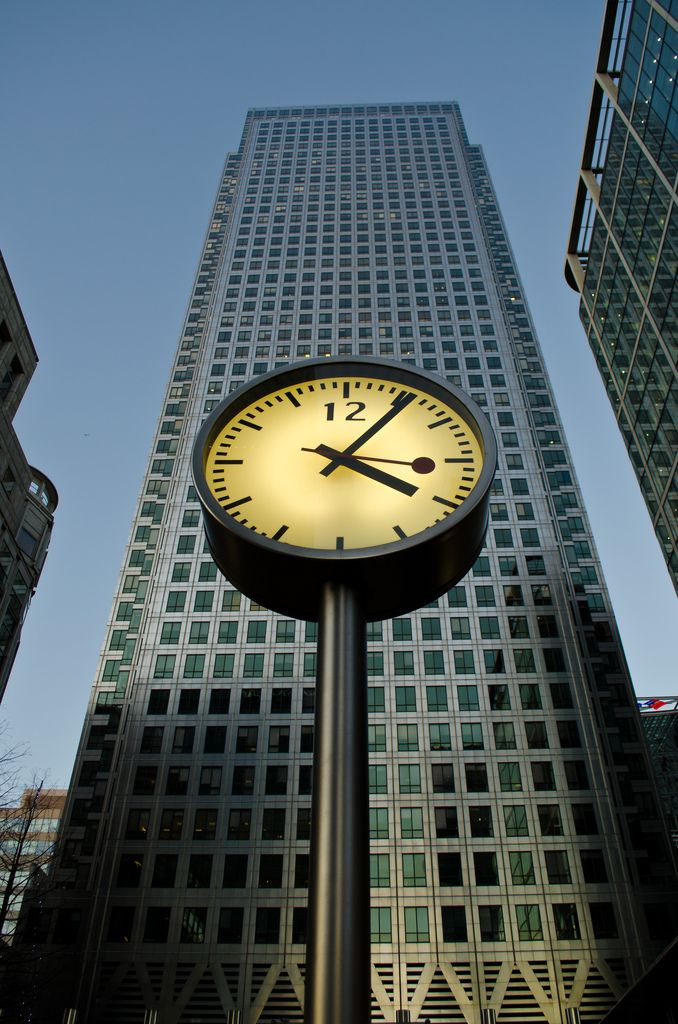 One of the clocks by the entrance to the shopping centre at 1, Canada Square