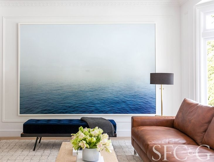 oversize image of water by Peggy Wong placed in living room