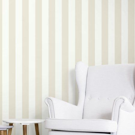 Roommates Awning Stripe Neutral Peel Stick Wallpaper Walmart Com Peel And Stick Wallpaper Striped Wallpaper Decorating Solutions