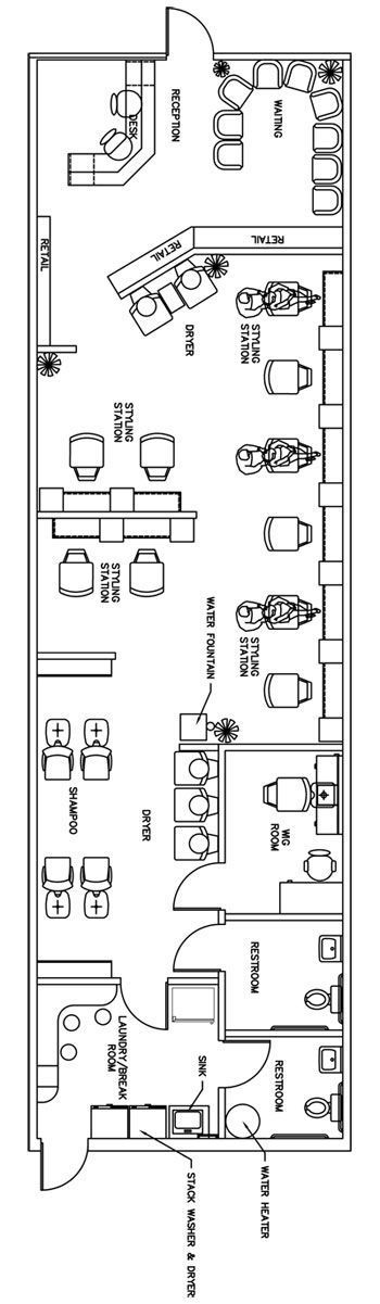 Salon Floor Plan Design Layout - 1435 Square Feet: