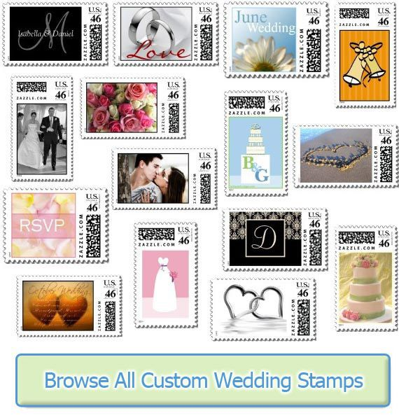 USPS Wedding Stamps & Rates for 2014 | Wedding Stamps-- Different postage stamp designs on Zazzle.