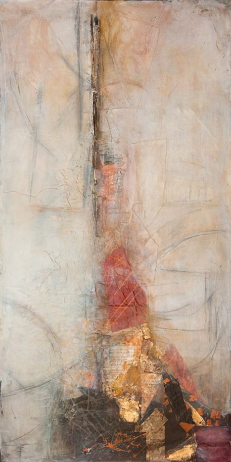Ascension, 72 x 36 available. Mixed media collage.