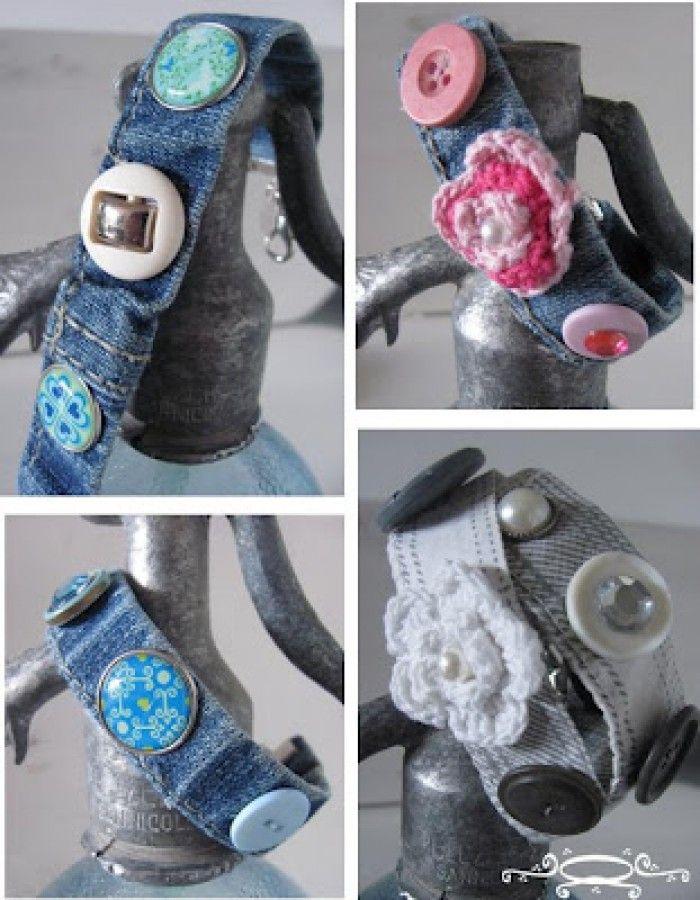 armband gemaakt van oude jeans, gepimpt met knopen en haakwerk