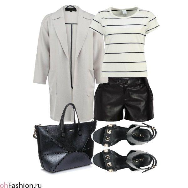 Повседневный образ. Футболка в полоску, кожаные шорты, серое пальто | ohFashion.ru