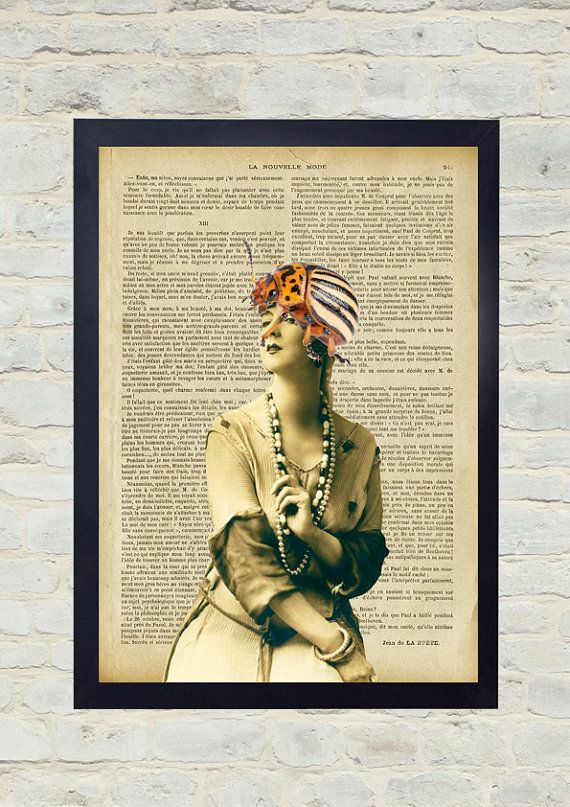 Vintage Dictionary Art Print. Woman with beetle hat. Original Artwork. Old paper print. Vintage Illustration poster. Home wall Decor.