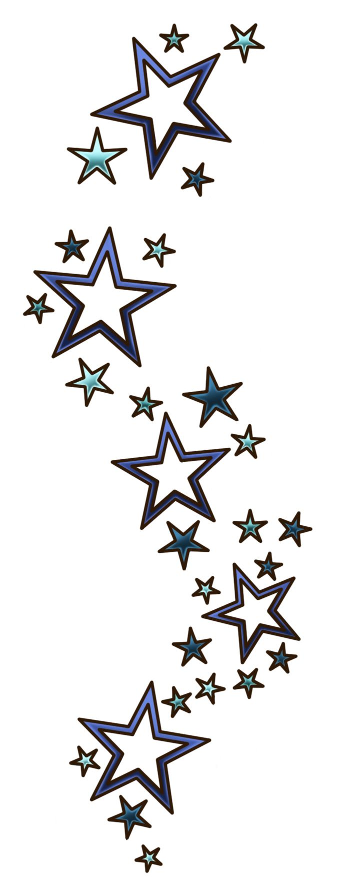 Stars with double borders. keep the negative space, add some color for birthstones of family members. Possible idea to finish my tattoo!