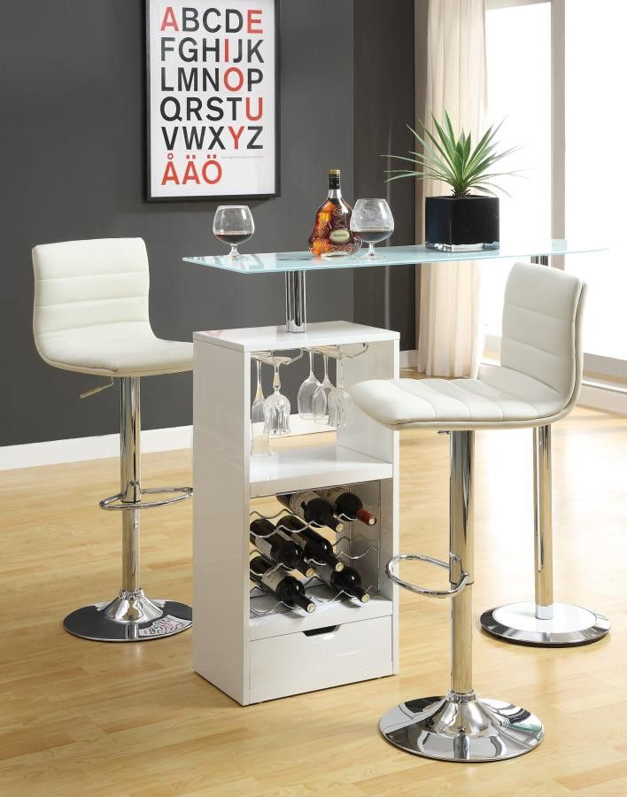 "Bar Table CS120452 Description : Add this versatile and modern piece to any entertaining space. This contemporary bar table features a wine rack that stores up to 12 bottles of wine plus stemware storage. The modern design includes a sturdy tempered frosted glass table top. It is finished in white high gloss with a chrome base. Features : Color : Glossy White Wood & Finish : Gunmetal Style : Contemporary Dimensions : Bar Table : 43.5"" H X 15.75"" W X 47.25"" L"