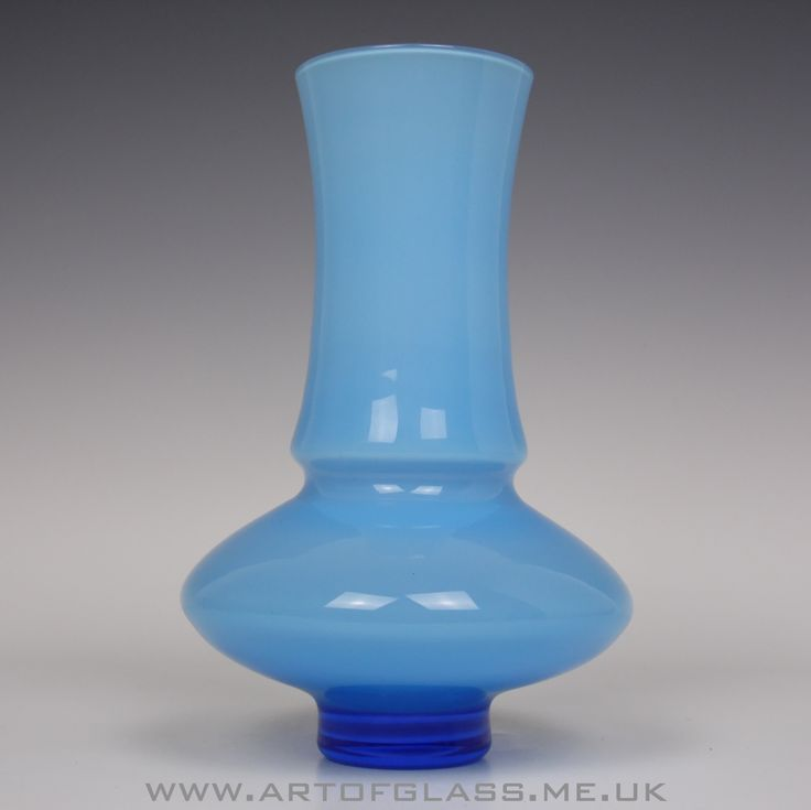 Aseda blue cased glass vase by Bo Borgstrom