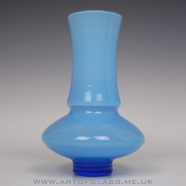 Aseda blue cased glass vase by Bo Borgstrom