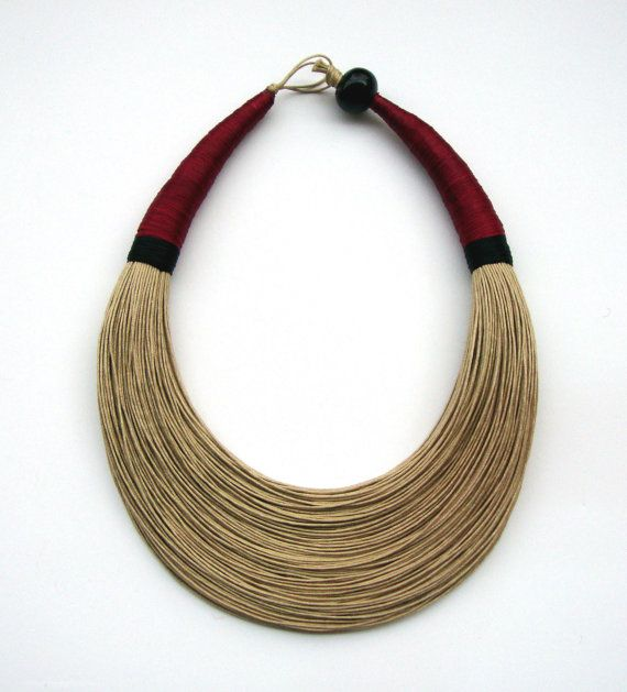 Natural Red and Black Statement Necklace by superlittlecute
