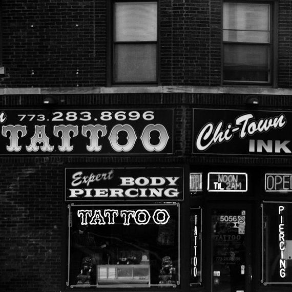 Chicago tattoo and piercing shop black and white for Tattoo shops in illinois