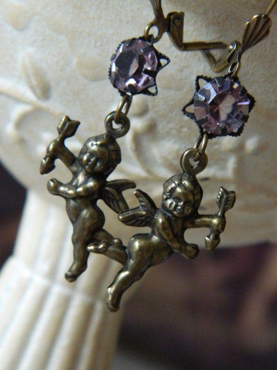 Assemblage Cherub Earrings by 58diamond by 58Diamond on Etsy